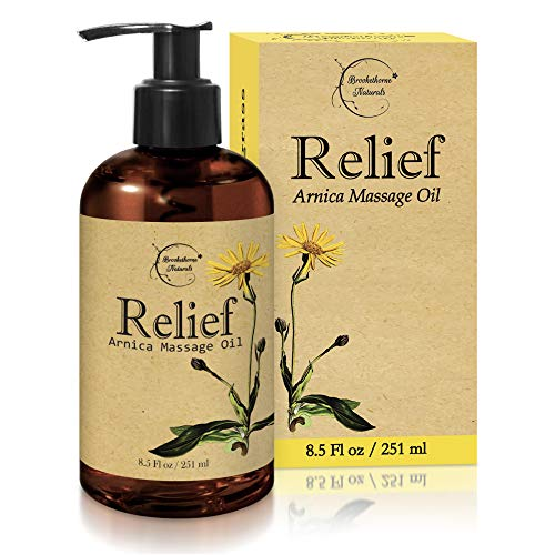 Relief Arnica Massage Oil – Great for Sports amp Athletic Therapeutic Massage – All Natural  Arnica Montana for Sore Muscle Relief Contains Sweet Almond Jojoba Grapeseed amp Essential Oils 85oz