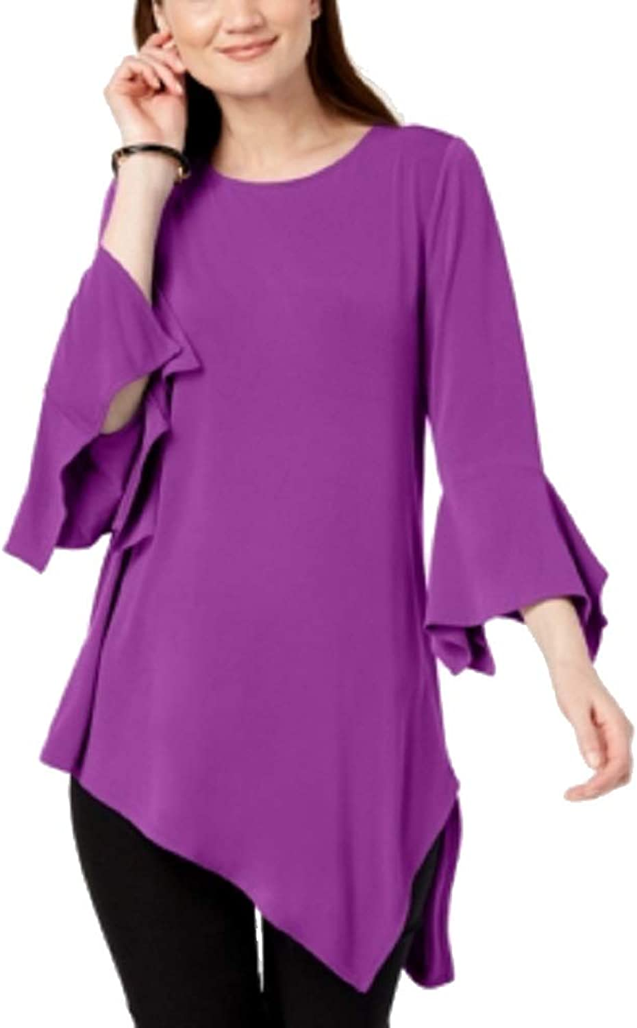 Alfani Solid Knit Square Sleeve Asymmetrical Top