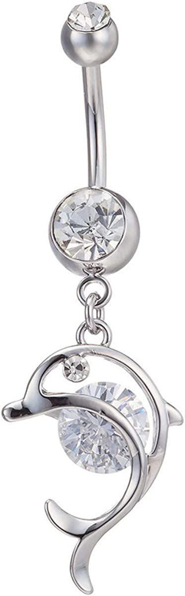 14G Dangle Belly Button Ring Dolphin Navel Ring 316L Surgical Steel CZ Body Piercing Jewelry