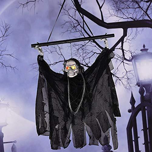 Adminitto88 Halloween Deco Scary Deco Set 55cm Reaper Torvo Appeso Animato Con Attacchi A Teschio E Catena Per La Decorazione Più Terrificante Per Halloween 2019