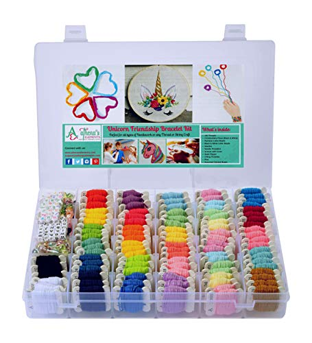 Unicorn DIY Friendship Bracelet String Kit Embroidery Thread and Accessories - Colors are Coded as Embroidery Floss Numbers - for Cross Stitch, String, Thread Craft Supplies - Perfect Gift for Girls