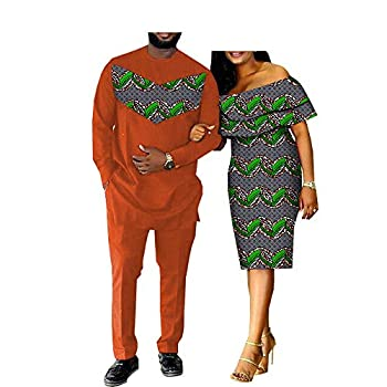 Y-CAN African Dress Matching Clothes for Couples Bazin Riche Women Men Suits Shirt and Pants Sets Couples Clothing Party 541 3 men2XL/USL