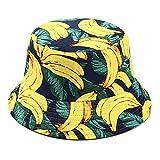 SDGDFXCHN Two Side Reversible Fruit Eimer Hut für Männer Frauen Fischer Hut Panama Bob Hut Sommer Ananas, Kirsche, Zitrone, Banane