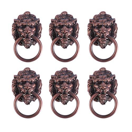 iplusmile 取手 ドア取っ手 ドアハンドル ノブ ドアノブ ライオンヘッド デザイン 装飾 引き出しつまみ 引き出し部品 手すり ドレッサー 6個セット