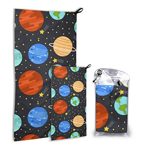 N\A Dibujos Animados Space Shiny Solar System Planet 2 Pack Microfibra Toallas de Playa para Adolescentes Toalla de Playa Set para Adolescentes Secado rápido Lo Mejor para Viajes de Gimnasio Moc