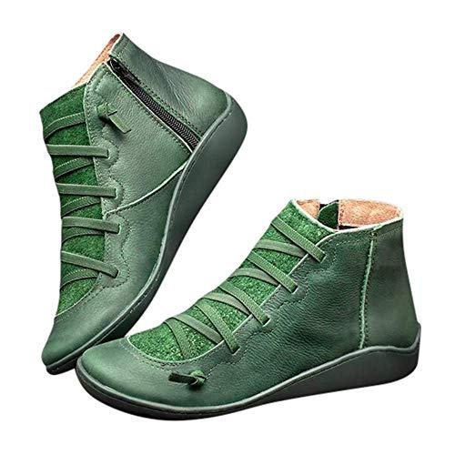 2019 Botas para Mujer, Soporte del Arco, Cómodos Botines de Deslizamiento Plano para Mujer, Zapatos Casuales para Mujer Otoño Invierno con Hebilla con Cremallera