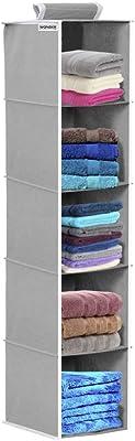 Wonder Cub Hanging Organizer 5 Shelves Wardrobe Organiser - Grey