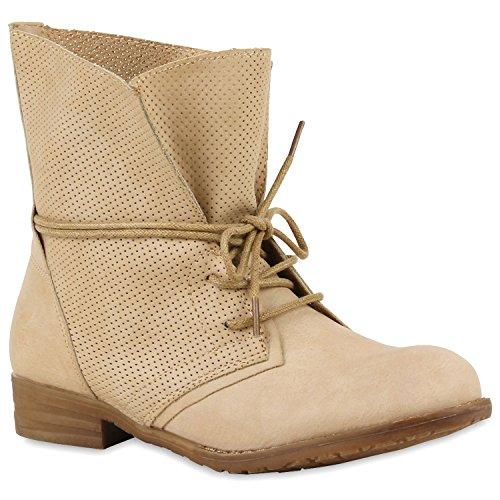 Klassische Damen Schuhe Worker Boots Stiefeletten Stiefel Leder-Optik 128423 Nude Khaki 36 Flandell