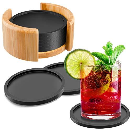 Sottobicchieri in Silicone Tondo Per Bicchieri, Set Di 8 Incl. Box, Design Coasters in Grigio Scuro Per Bevande, Tazze, Bar, Lavabile in Lavastoviglie