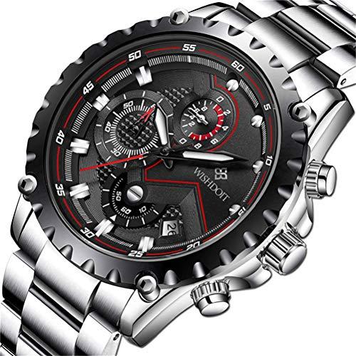 WISHDOIT Elegante Orologio Uomo al Quarzo Cronografo Impermeabile Nero Orologi Business Casual Sportivo Design Acciaio Inox Cinturino da polso Orologio