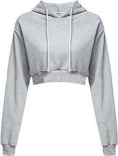 Macondoo Women's Casual Hoodies Cropped Top Pullover T-Shirt Sweatshirts Light Gray X-Small
