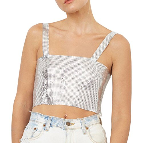 Naimo Women Sexy Shiny Chain Metal Sequin Blouse Vest Crop Top Sleeveless T-Shirt (Silver)