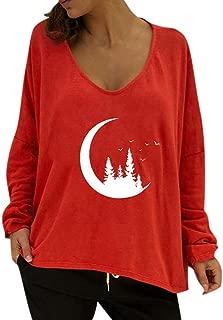 KLFGJ Ladies Off Shoulder Tops with Long Sleeve Loose Basic Shirts V-Neck Sweater Print Women Sweatshirts