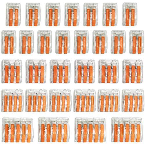 CTRICALVER Elektrische Anschlussblöcke, 31er-Pack-Kabelverbinder Leiter-Kabelverbinder mit Federdruckhebel für Feste, verseilte und Flexible Kabel