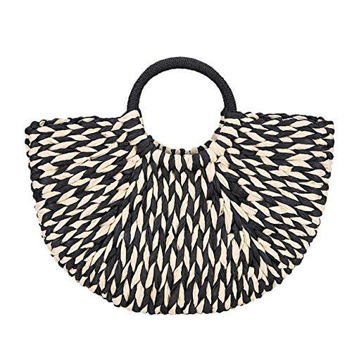 QFWN Borsa di Spiaggia di Modo di Estate delle Donne del Sacchetto Tessuta a Mano Rattan Bag Paglia Casuale Straw Tote Grande del Cinturino dell'orologio Travel Bag Lady (Color : Black)