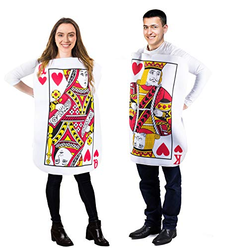 Tigerdoe King and Queen Card Costume - Poker Cards Costume - Couple Costume - Chess Piece Hats - King & Queen of Hearts (2 Pk Card Costume) Red