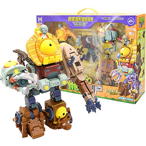 5 In 1 Large Genuine Plants Vs Zombies Toys 2 Transformer Toy Robot Giant Kong Zombie King Christmas Gifts Zombie Action Figures