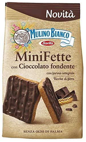 Mulino Bianco Mini Fette con Cioccolato fondente e farina integrale Zwieback mit dunkler schokolade und vollkornmehl Kekse gebackenem brot biscuits 110g ohne Palmöl