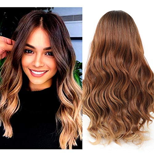 LEKOUUUGU 22 Inches Natural Ombre Brown Wigs Middle Part Long Wavy Wigs for Women None Lace Front Wigs (Ombre Brown)