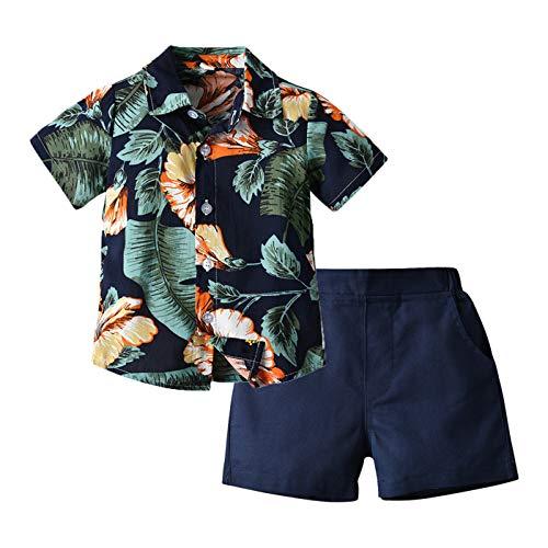 WOXING Conjunto de pantalones cortos de verano para bebé, diseño de hojas hawaianas, estampado floral, playa, deportes, vacaciones, camiseta de 2 piezas