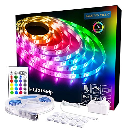 PANGTON VILLA Led Strip Lights 16.4 ft RGB 5050 Color Kit with 24 Key Remote Control and Power Supply Mood Lamp for Room Bedroom Home Kitchen Indoor Decorations