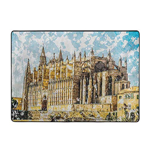 Alfombra gótica antideslizante para la zona de la orilla del mar y la catedral de Palma de Mallorca con vista desde la carretera, 4 pies x 5 pies de protección y cojín para alfombras y suelos