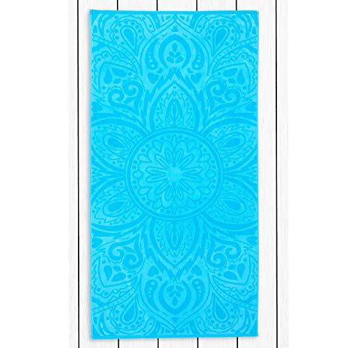 DecoKing Strandtuch groß 90x180 cm Baumwolle Frottee Velours Badetuch pink lila blau weiß Mandala