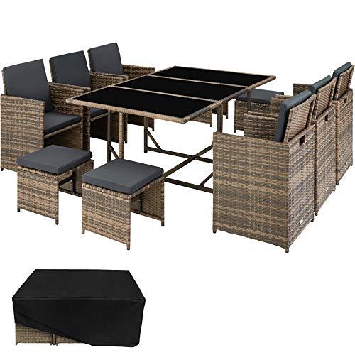 TecTake 800821 Set di Mobili Poli Rattan, Arredamento da Giardino, 6X Sedie 1x Tavolo con 3 Lastre di Vetro 4X Sgabelli, Involucro Protettivo, Nuovo (Naturale)
