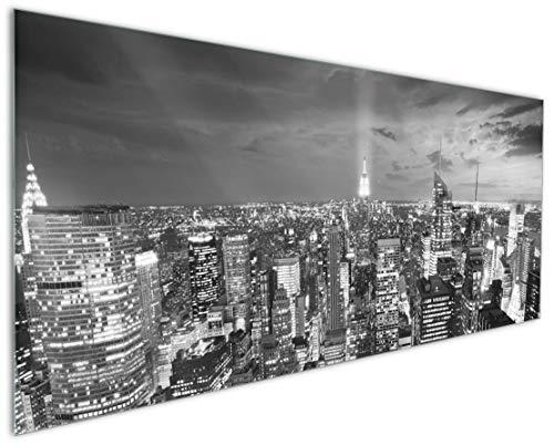 Wallario Küchen-Rückwand | Glas mit Motiv New York bei Nacht - Panoramablick über die Stadt - schwarzweiß in Premium-Qualität: Brillante Farben, ohne Aufhängung | abwischbar | pflegeleicht