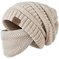 Redess Slouchy Beanie Hat (Oatmeal With Mask)