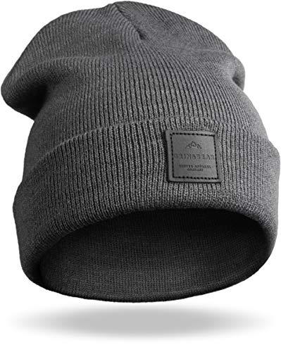 Grin&Bear Unisex Streetwear Mütze Beanie Feinstrick anthrazit M65