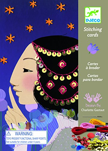 Djeco Workshops Stitching Cards 1001 Nights Kit, Card Decorating Kit with Thread and Sequins