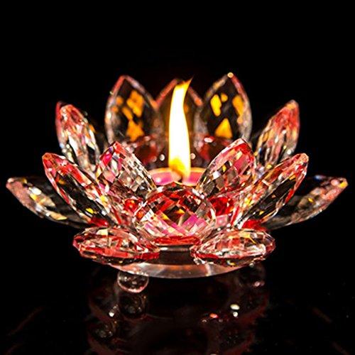 "YJY Crystal LED Candle Lamps Holder Night Light,Glass Tea Light Holder Handmade Artwork for Home Decor Christmas Wedding Party Gift 4.7""(Red)"