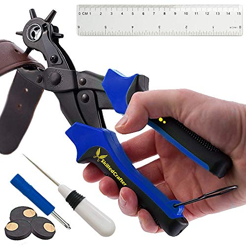 Leather Hole Punch by Skilled Crafter Easily Punches Perfect Round Holes. FREE Ruler & Awl Tool. Best Professional Puncher for Belt, Saddle, Watch Strap, Shoe, Bag, Fabric, Eyelet + 2 Year Warranty