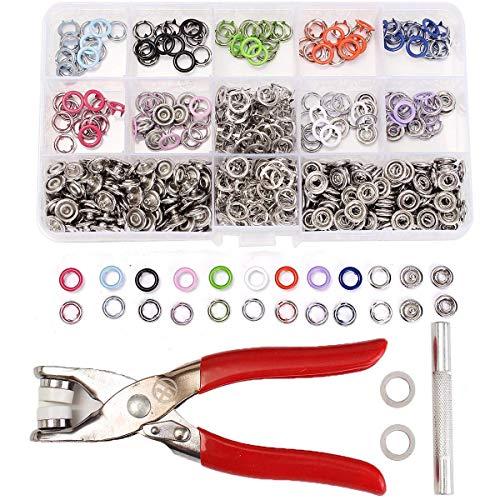 YBB-YB YankimX 10 colores 150 juegos de 9,5 mm de anillo de prensa de broches de presión para chupete pinzas herramienta