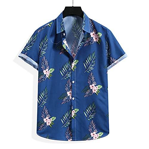 Shirt Hawaiana Hombre Botón Transpirable Tapeta Cuello Kent Hombre Shirt Verano con Estampado Personalidad Manga Corta Hombre T-Shirt Informal Holgada Hombre Shirt Playa
