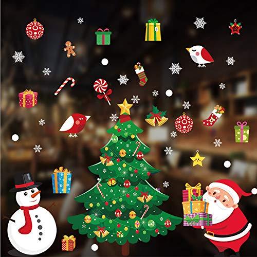 YOUYIKE Weihnachts Fensterbilder,Weihnachten Fenstersticker, Fensterbilder Weihnachtsmann für Weihnachten Vitrine Dekoration, Türen,Schaufenster, Vitrinen, Glasfronten