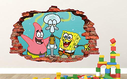 BAOWANG Wandtattoo SpongeBob Patrick Thaddäus Wandtattoo Kinder zertrümmert 3d Aufkleber Kunst Vinyl