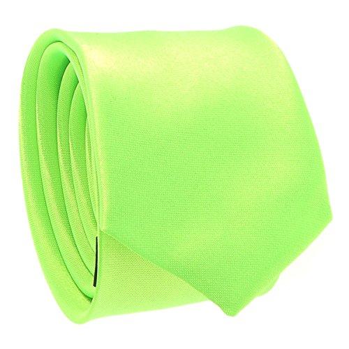 Cravate Fine Vert fluo - Cravate Homme Coupe Slim Moderne - 5cm à la Pointe - Couleur Unie - Accessoire Chemise pour Mariage, Cérémonie