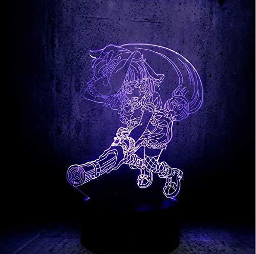 Cartoon Besen Zauberer Zauberer Magie Meister 3D Licht Usb Multicolor Nachtlicht Led Birne Kind Spielzeug 7 Farbe