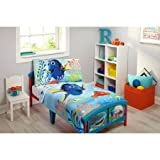 Disney Finding Dory 4-Piece Toddler Bedding Set, Includes Comforter, Fitted Sheet, Flat Sheet And Pillowcase