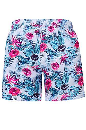 TUONROAD Bermuda Badeshorts Männer 16-Inch Sommer Lässig Badehose Herren Schnelltrocknend Kurz Hawaii Shorts Blumen XL