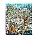 MESKERIA Spongebob Schwammkopf Duschvorhang Liner Wasserdicht Polyester Stoff Badezimmer Duschvorhang Stoff Duschvorhang 12 Haken 152,4 x 182,9 cm