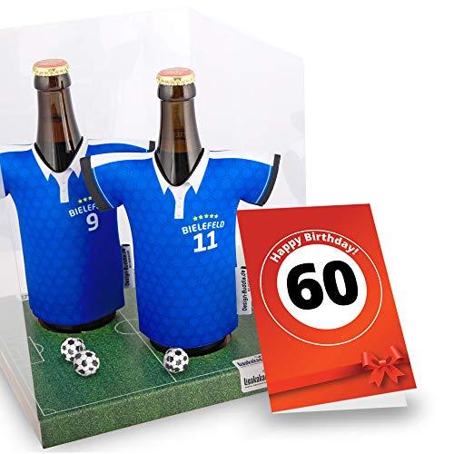 60. Geburtstag | Der Trikotkühler | Das Männergeschenk für Bielefeld-Fans | Langlebige Geschenkidee Ehe-Mann Freund Vater Geburtstag | Bier-Flaschenkühler by Ligakakao