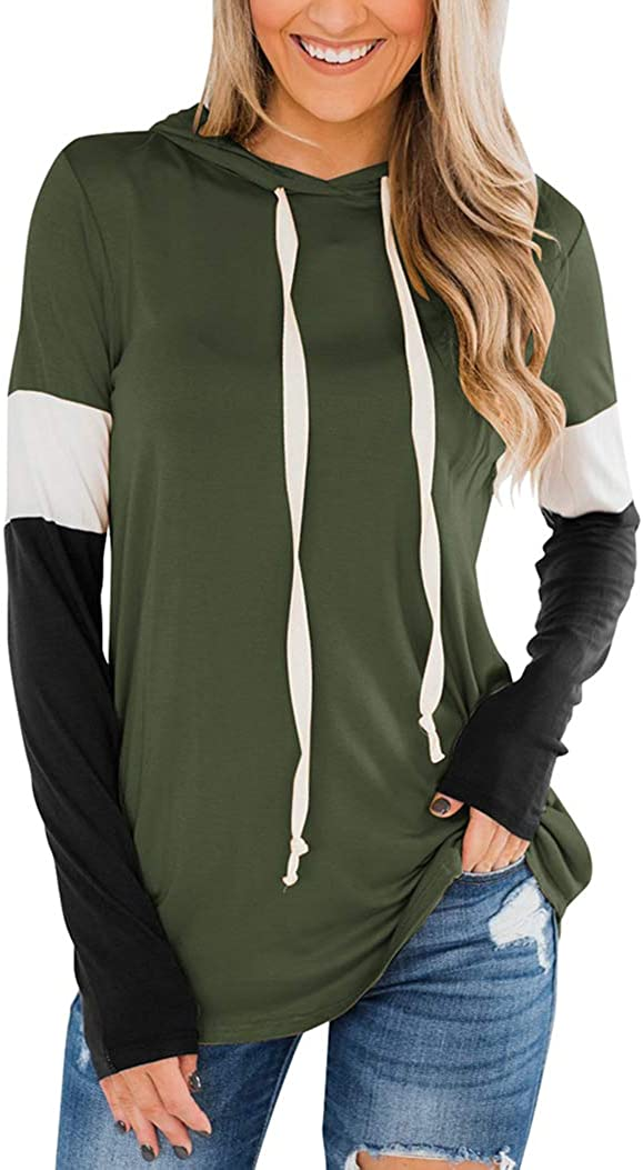 Minclouse Women's Long Sleeves Color Block Sweatshirts Hoodie Pullover Casual Drawstring Cute Tunic Tops