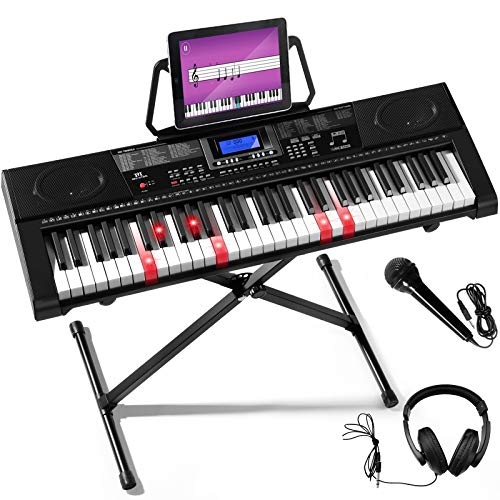 Mustar 61 Lighted Keys Teaching Electronic Keyboard Piano w/MIDI USB/Sturdy App, Headphones, Microphone,Piano Stand,Full Size Keys/LCD Screen for Beginner Adults and Kids