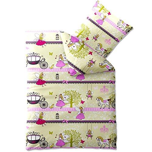 CelinaTex Kinder Bettwäsche 135x200 Biber Kids Bettbezug kuschelig warme Winter Biberbettwäsche Baumwolle, 80x80 Kissenbezug Mädchen-Motiv kleine Elfe rosa Fee 0003069