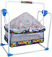 TruGood Baby's Bassinet Cradle Cum Swing with Mosquito Net (Blue)