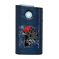 glo グロー グロウ 専用 レザーケース レザーカバー タバコ ケース カバー 合皮 ハードケース カバー 収納 デザイン 革 皮 BLUE ブルー 鷹 英語 ロゴ 014396