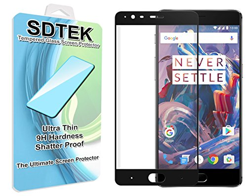 SDTEK OnePlus 3 (One Plus Three) (Schwarz) Vollständige Abdeckung Panzerglas Glasfolie Schutzglas Hartglas Tempered Glass Screen Protector Schutzfolie Displayschutzglas